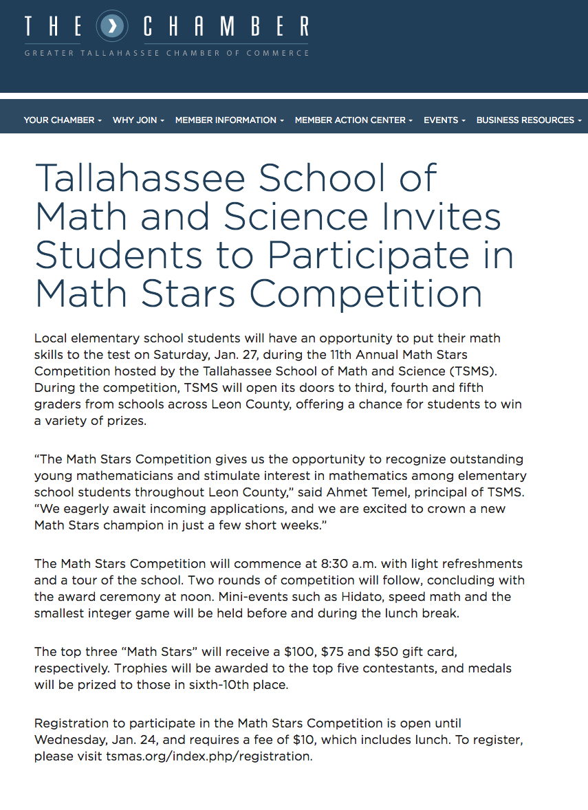 Math Stars Competition