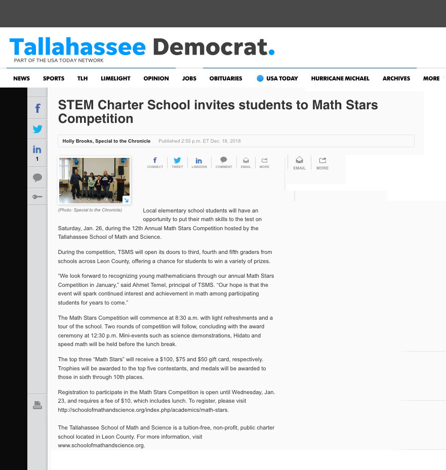 STEM Charter School invites students to Math Stars Competition